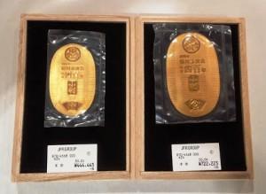 徳川家康生誕400周年記念金貨 (左)K24 30g480,000円(税込)/(右)K24 50g 780,000円