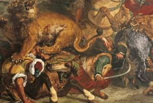 ウジェーヌ・ドラクロワ 《ライオン狩り》(部分) 1854-55年 175×360cm ボルドー美術館 ©Musée des Beaux-Arts - Mairie de Bordeaux. Cliché L. Gauthier