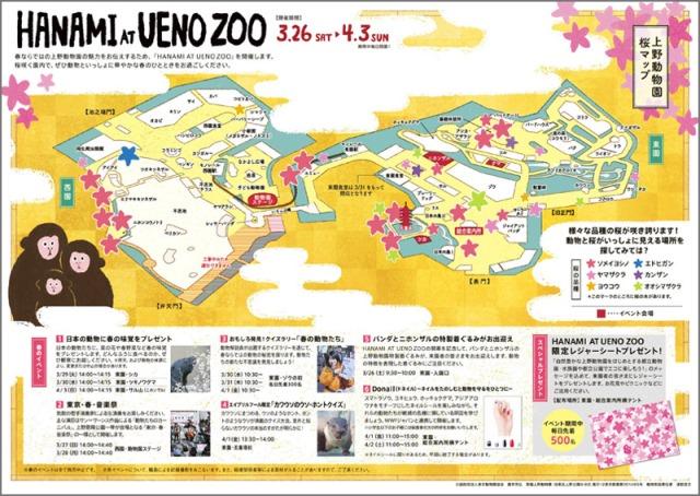 [上野動物園内桜マップ(ニホンザル)/画像提供 (公財)東京動物園協会]