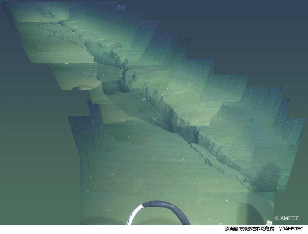 【深海底で撮影された亀裂©JAMSTEC】